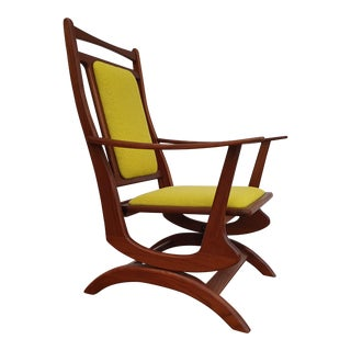 1960s Vintage Solid Teak Wood & Kvadrat Wool Rocking Chair For Sale