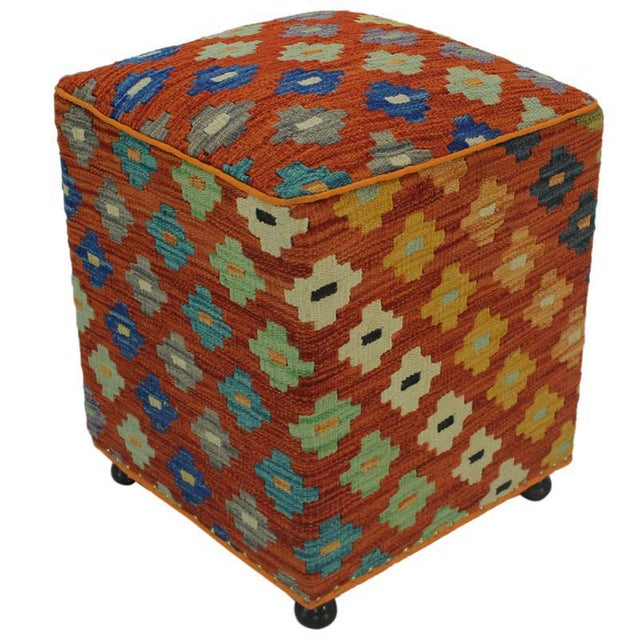 Orange Hammer Orange Handmade Kilim Upholstered Ottoman For Sale - Image 8 of 8