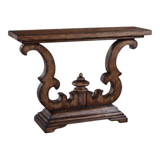 Console Table Cambridge Rustic Pecan Distressed For Sale