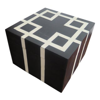 Black and White Cube Bone Inlay Box For Sale