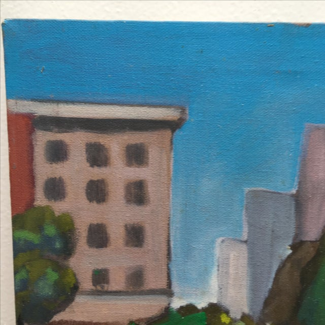 Vintage Painting of a Cityscape, Urban Highrise - Image 4 of 11