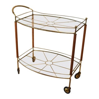 Mid-Century Modern Brass and Glass Bar Cart For Sale