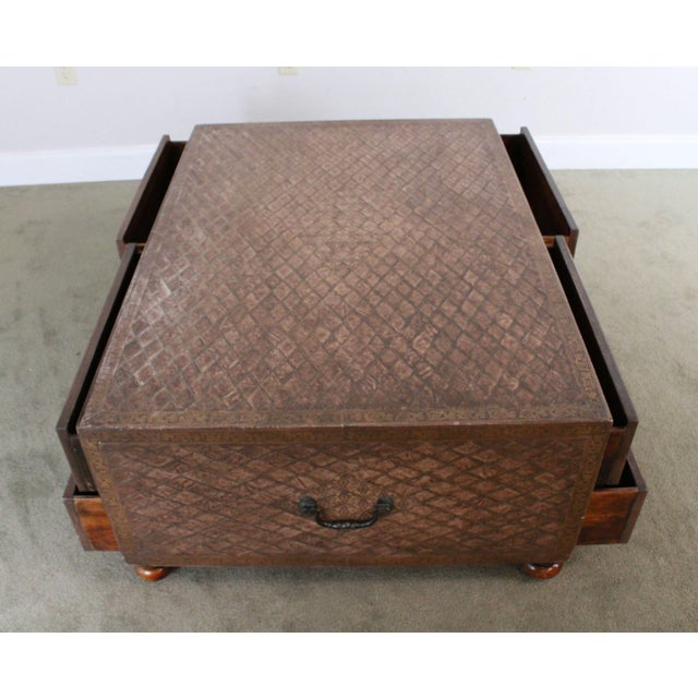 Maitland Smith Distressed Brown Tooled Leather Campaign Coffee Table with Drawers For Sale - Image 9 of 12