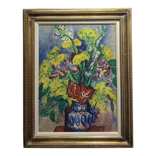 Pauline Polk -Still Life of Red & Yellow Flowers in a Blue Vase- Painting For Sale