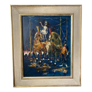 Mid-Century Oil Painting of Circus Performers, Signed For Sale