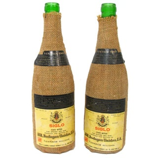 1969 Vintage Spanish Wine Bottles - A Pair For Sale