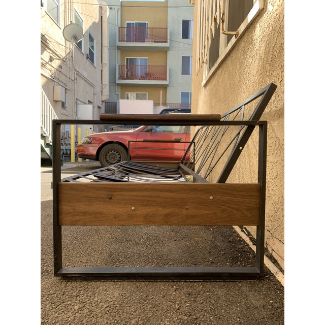 1980s Vintage Metal and Wood Framed Day Bed Sofa For Sale - Image 5 of 9
