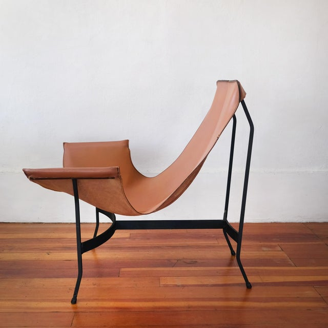 1960s William Katavolos for Leathercrafter Leather and Iron Sling Chair For Sale - Image 5 of 10