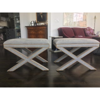 Slate Blue Occasional Benches - A Pair Preview