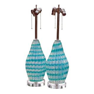 Vintage Murano Opaline Glass Table Lamps in Aqua Stripe For Sale