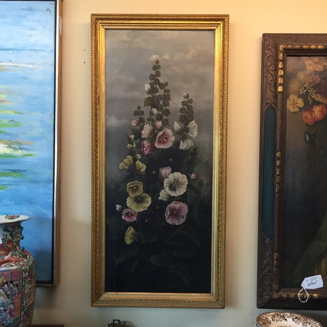 Antique (1890s) painting of hollyhock with bumblebees. Acrylic Victorian. Wear on frame consistent with age.