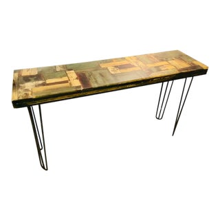 Abstract Mosaic Style Solid Wood Console Sofa Table For Sale