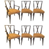 "Image of Set Of Six Tommi Parzinger ""X"" Back Dining Two Arm Four Side Chairs. For Sale"