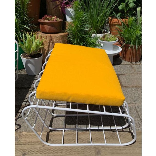 Canary Yellow 1970s Mod Wire Lounge Chair With Ottoman For Sale - Image 8 of 13