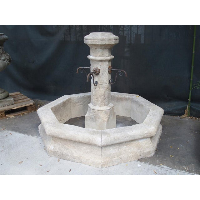 Traditional Octagonal Limestone Center Fountain From Provence, France For Sale - Image 3 of 11