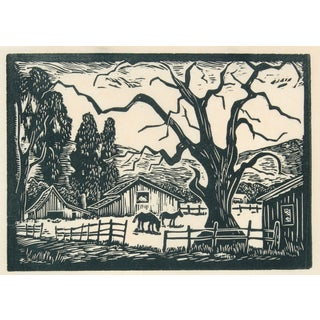 1940s Bay Area Ranch Linocut For Sale