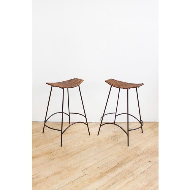 Raymor Set of 4 Raymor Arthur Umanoff Wicker and Iron Counter Stools For Sale - Image 4 of 8