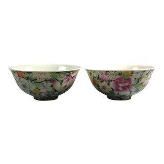 Late 19th Century Chinese Famille Rose 'Hundred-Flower' Porcelain Bowls, Marked - a Pair For Sale