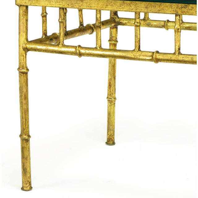 1960s Italian Glazed Gilt Metal Faux Bamboo End Tables - a Pair For Sale - Image 5 of 7
