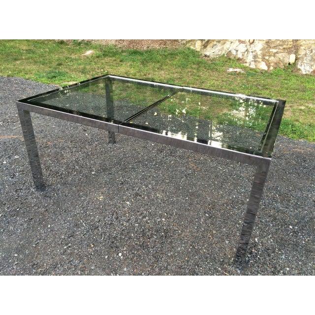 Milo Baughman Chrome& Glass Dining Table - Image 6 of 8