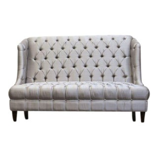 High Back Silver Tufted Settee For Sale
