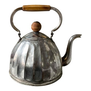 Antique Metal Tea Kettle With Wood Knob For Sale