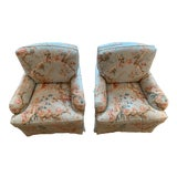 Image of Brunschwig & Fils Fabric Club Chairs - A Pair For Sale