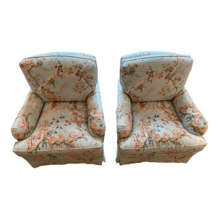Brunschwig & Fils Fabric Club Chairs - A Pair For Sale
