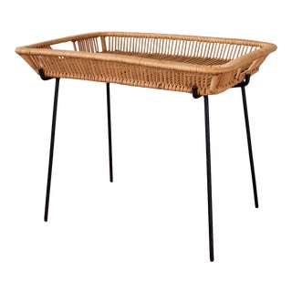 1950s Mid-Century Iron and Rattan Tray Table For Sale