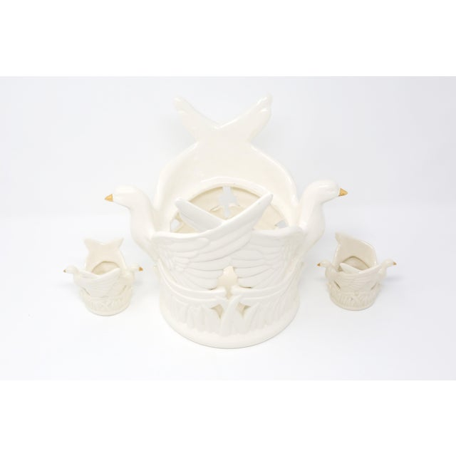 White Ceramic Flying Doves Candle Holders - Set of 3 For Sale - Image 8 of 12