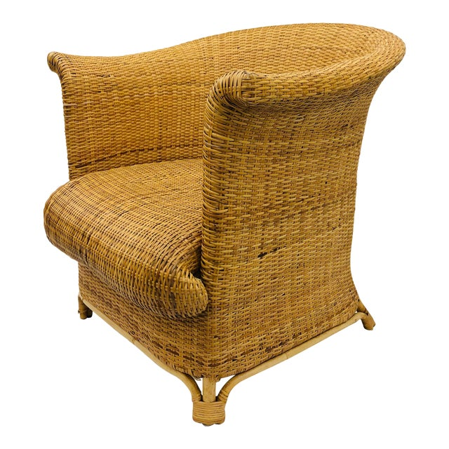Vintage Palm Beach Chic Woven Wicker Arm Chair For Sale