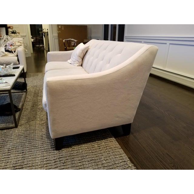 Chloe Velvet Tufted Sofa in Ivory For Sale - Image 5 of 5