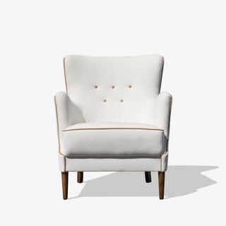 Danish Petite Wing Lounge Chair in Snow Velvet & Camel Italian Leather Accents Preview