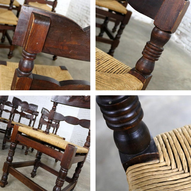 Spanish Colonial Style Dining Chairs With Rush Seats Stamped Hecho en Mexico For Sale - Image 12 of 13