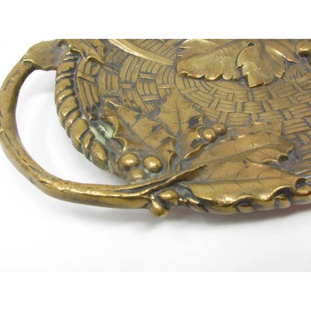 Antique Jan Van Neste Art Nouveau Bronze Decorative Tray With Grape Leaves For Sale - Image 9 of 13