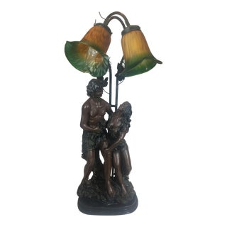 Vintage Adam and Eve Lamp With Yellow & Green Glass Frosted Lamp Shades For Sale