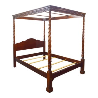 Hickory Chair Historic James River Queen Mahogany Ribbon Canopy Poster Bed For Sale