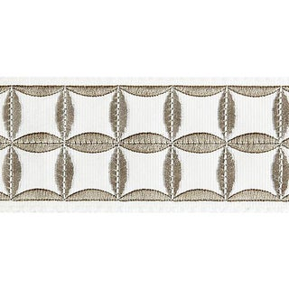 Sample, Scalamandre Fiori Embroidered Tape, Platinum For Sale
