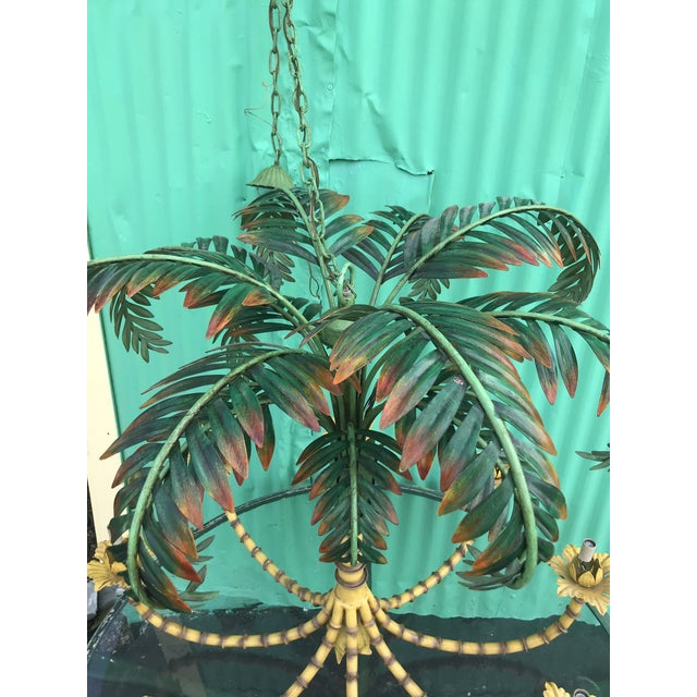 Large Palm Tree Leaf Faux Bamboo Metal Chandelier For Sale - Image 4 of 13