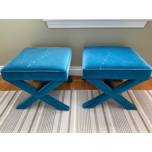 Gorgeous pair of iconic Jonathan Adler x-benches in Venice Peacock velvet upholstery. Have been lovingly cared for since...