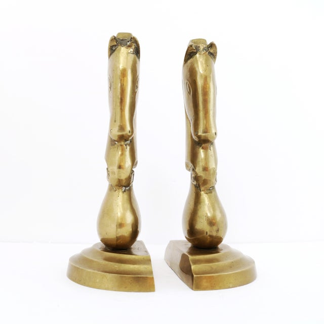 1970s Brass Knight Horse Head Bookends - a Pair For Sale - Image 5 of 8