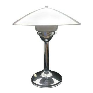 1930s Art Deco Chrome and Opaline Italian Table Lamp For Sale