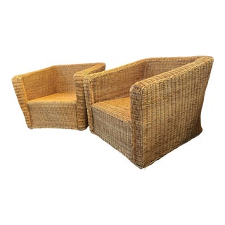 Vintage Rattan Wicker Chairs - a Pair For Sale