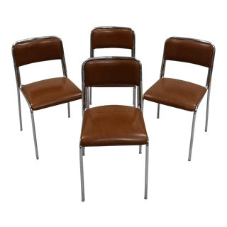 Set of 4 Chrome Steel Frame Brown Faux Leather Mid-Century Retro Kitchen Chairs For Sale