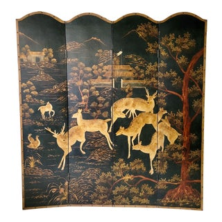 20th Century Pastoral Chinoiserie Folding Screen With Deer