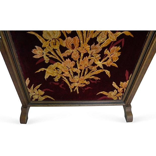 Antique Floral Fireplace Screen - Image 2 of 4