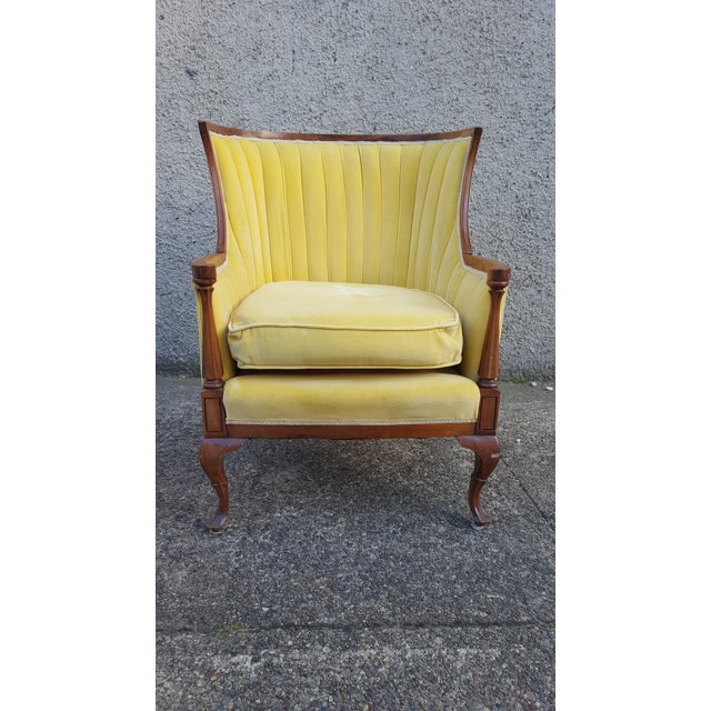 Antique Canary Yellow Velvet Armchair - Image 3 of 6