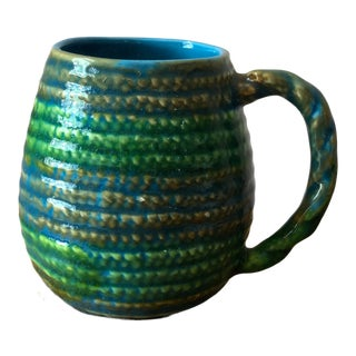 Mid-Century Green Rope Motif Lefton Ceramic Mug For Sale