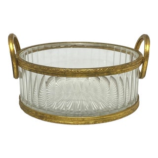 Vintage French Crystal and Gilt Bronze Handled Bowl For Sale