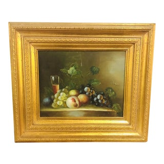 1980s Oil on Canvas Still Life with Fruit Framed Painting For Sale